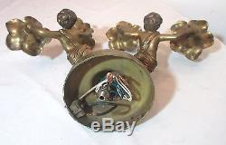 Vintage solid heavy brass figural cherub putti rose electric wall sconce fixture