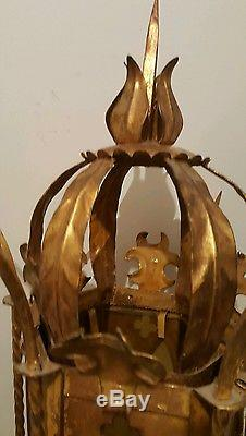 Vintage torchiere gold gilt rare electric sconce wall light Italy castle MCM wow