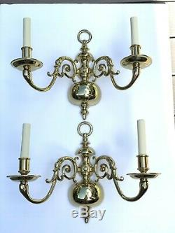 Virginia Metalcrafters Royal Palace Colonial Williamsburg Brass Wall Sconces NOS
