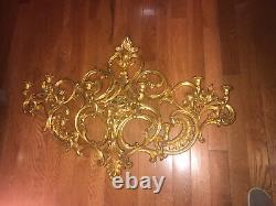 Vtg 1967 SYROCO Gold WALL SCONCE 9 Arm Candle Holders #4025 HOLLYWOOD Regency