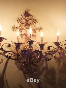 Vtg 54 Hollywood Regency Italy Gold / Gilt Tole Metal 9 Light Wall Sconce