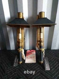 Vtg Chapman Bouillette Bouillotte French Style Wall Sconces NOS never used Mint