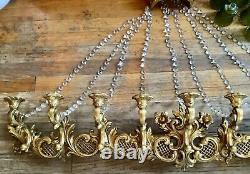 Vtg Dart 9 Candle Holder Gold Candelabra wall Sconce Syroco Hollywood Regency