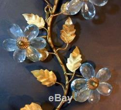 Vtg French Bagues Style Wall Sconce Italy Gold Tole Blue Aqua Crystal Flowers