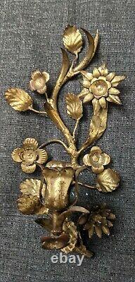 Vtg GILT GOLD HOLLYWOOD REGENCY ITALIAN ROSE WALL SCONCE CANDLE HOLDER PAIR