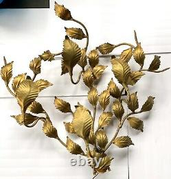 Vtg Hollywood Regency Italy Gold Tone Tole Leaf Wall Sconce Light Back Lit
