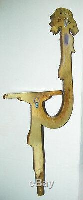 Vtg Italian Bow Tassels Wall Hanging Plaque Shelf Sconce Holder Retro Wood Mid