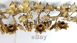Vtg Italian Candle Wall Sconce Florentine Gold Grapevines Italy Snuffer Grapes
