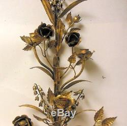 Vtg Italian Gilt Gold Metal Tole Wall Candle Sconce LILY of VALLEY ROSES Regency