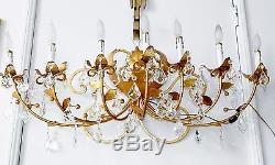 Vtg Italian Gold Leaf Tole Iron 7 Light Wall Sconce Candelabra Crystal Prisms