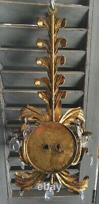Vtg Italian Tole Gold Gilt Wall Candle Sconces Hollywood Regency Metal Hanging
