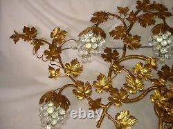Vtg Italy Italian Gold Gilt Tole Metal Leaf Wall Sconce electric lamp light