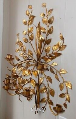Vtg LARGE GOLD TOLE Metal Toleware SCONCE ART Wall Candle Holder Regency