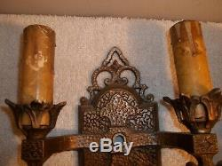 Vtg Lot of 2 Antique 1930s JC VIRDEN Gothic Style Sconce Wall Light Fixtures