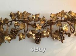 Vtg Lrg Italian Florentine Gold Metal Tole Grape Leaf Wall Candle Holder Sconce