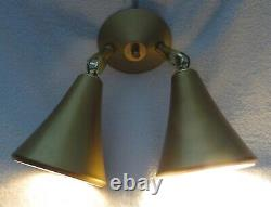 Vtg. MID Century Modern Atomic Double Cone Spotlight Wall Light Lamp Sconce