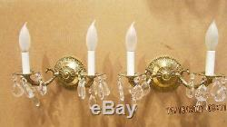 Vtg Pair French Style Brass Crystal Prism Wall Sconce Light Hollywood Regency