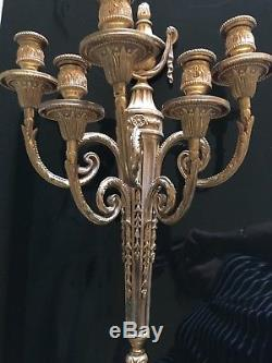 Vtg Pair Ornate Gilded Wall Sconces five candle