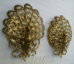 Vtg Pair Wall Sconces Light Peris Andreu Gilded Peacock Prisms Hollywood Regency