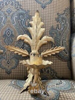 Vtg Pair of Italian Gilt Gold Fleur De Lis Wall Sconce Candle Holders