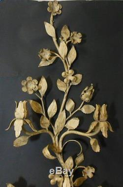 Vtg TOLE Metal Candleholder Wall Sconce Italian Flowers Tall 30 1/2 Creme Gold