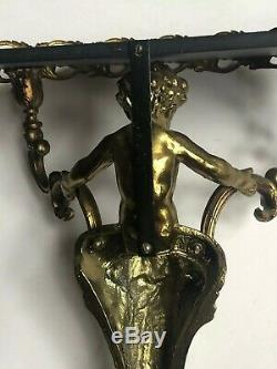 WOW! LARGE Vintage Gold BRASS CHERUB Wall Sconce Shelf Antique UNIQUE Metal