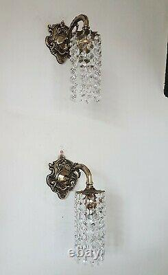 Wall Lights Down Lights with Strings of Crystals Vintage Bohemian