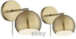 Wall Lights LED Plug In Set of 2 Brass Sphere Shade Pin Up for Bedroom Reading