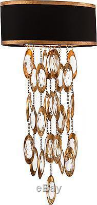 Wall Sconce John-richard Black Tie Large 2-light Warm Gold Trim Metal Face
