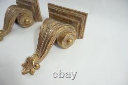 Wall Sconce Shelf Bracket Pair Gold Distressed, Elaborate Wall Shelf Scones