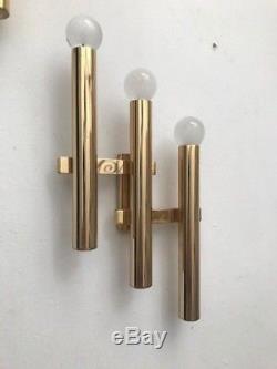 Wall lamps design 60 70 Gio Ponti sciolari gold sconces, torlasco