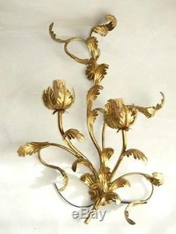 Wall sconce 2 light bulbs wrought iron leaves acanthus gold