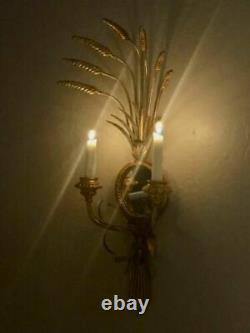 Wheat wall Mirror Sconce Candle Holder Gold Gilt MCM Toleware Hollywood Regency