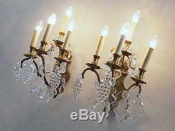 Wonderful Large Pair of WALL SCONCES 19th C. LOUIS XV Bronze & Crystal BACCARAT
