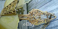 XLNT Antique Gold Moe Bridges 3 Light Slip Shade Chandelier & 2 Wall Sconces