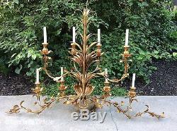 XLarge 8 Light Vintage Hollywood Regency Italian Gilt Gold Tole Wall Sconce